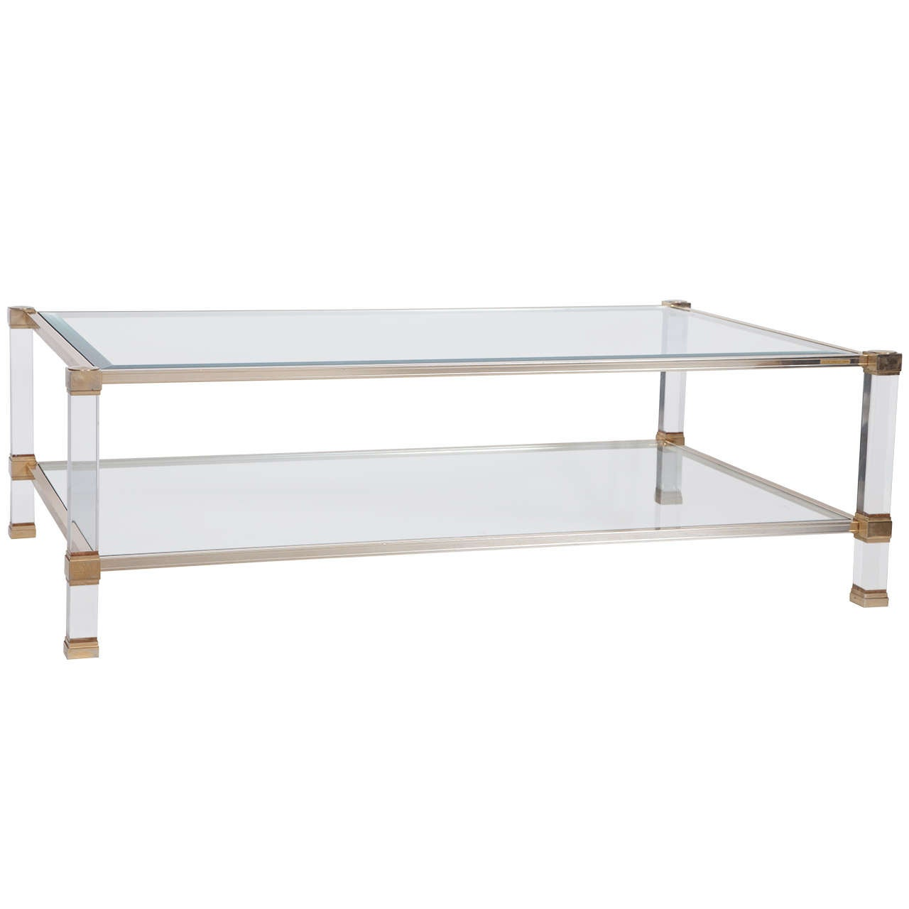 Pierre Vandel Signed Lucite And Brass Coffee Table At 1stdibs