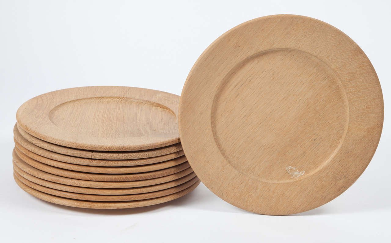 Oak Wood Charger or Chop Plates, Set of Ten 2