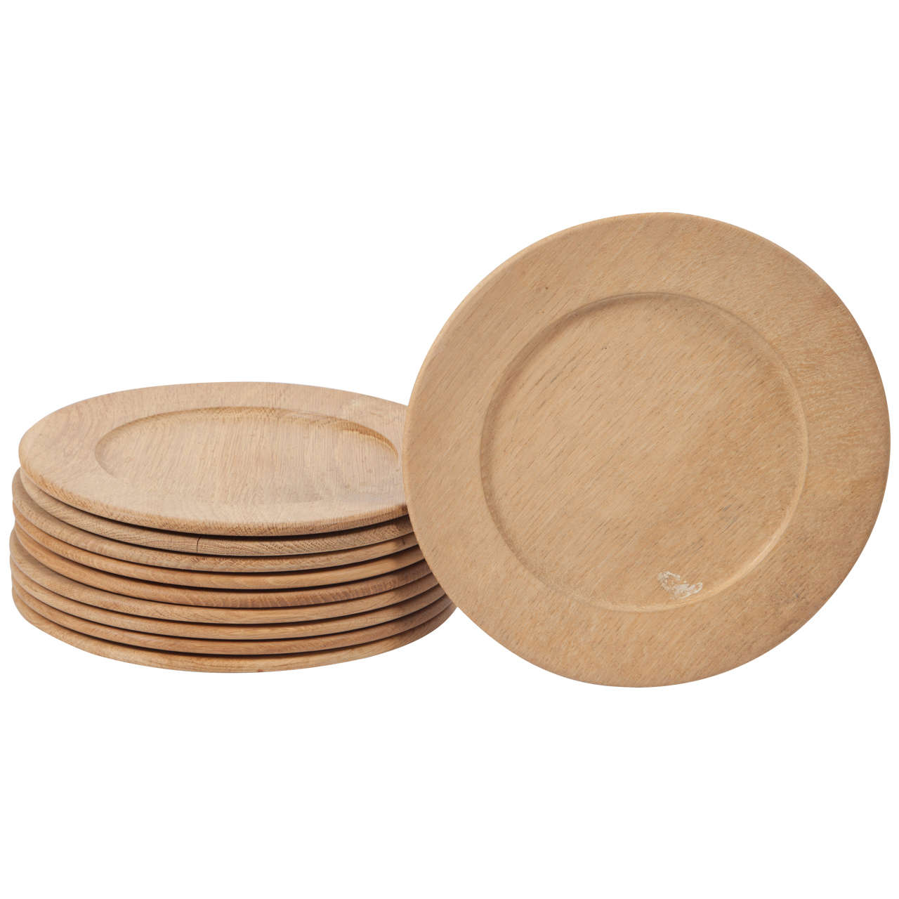 Oak Wood Charger or Chop Plates, Set of Ten 1