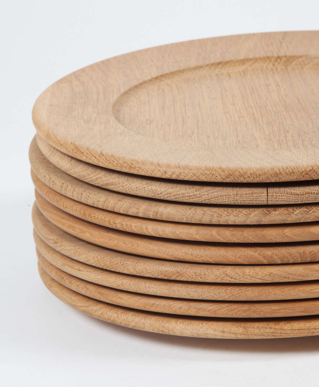 Oak Wood Charger or Chop Plates, Set of Ten 3