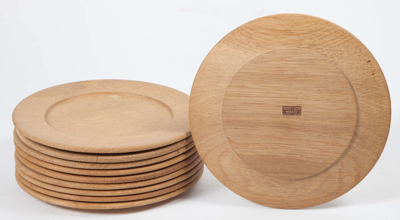 Oak Wood Charger or Chop Plates, Set of Ten 5
