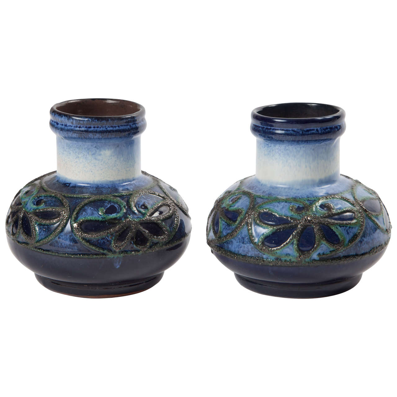 Pair of Fat Lava Glaze Strehla Vases 1