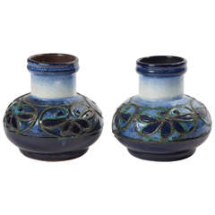 Pair of Fat Lava Glaze Strehla Vases
