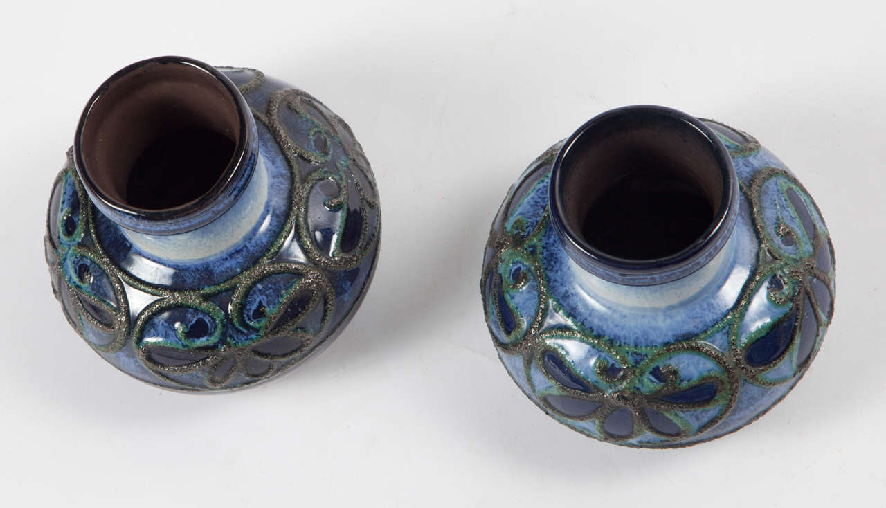 Pair of Fat Lava Glaze Strehla Vases 2