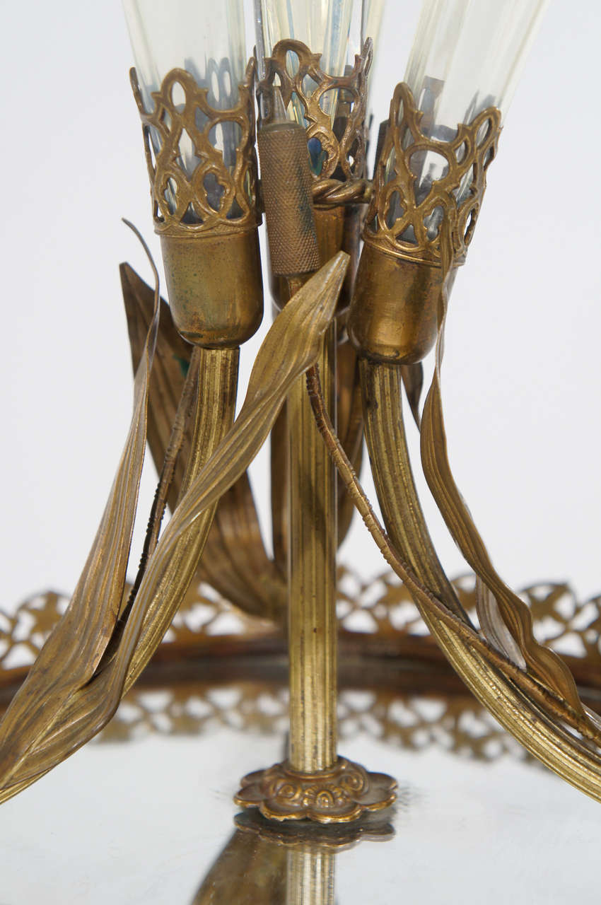 Outstanding Art Nouveau Calla Lily 19th Century Epergne on Plateau For Sale 2