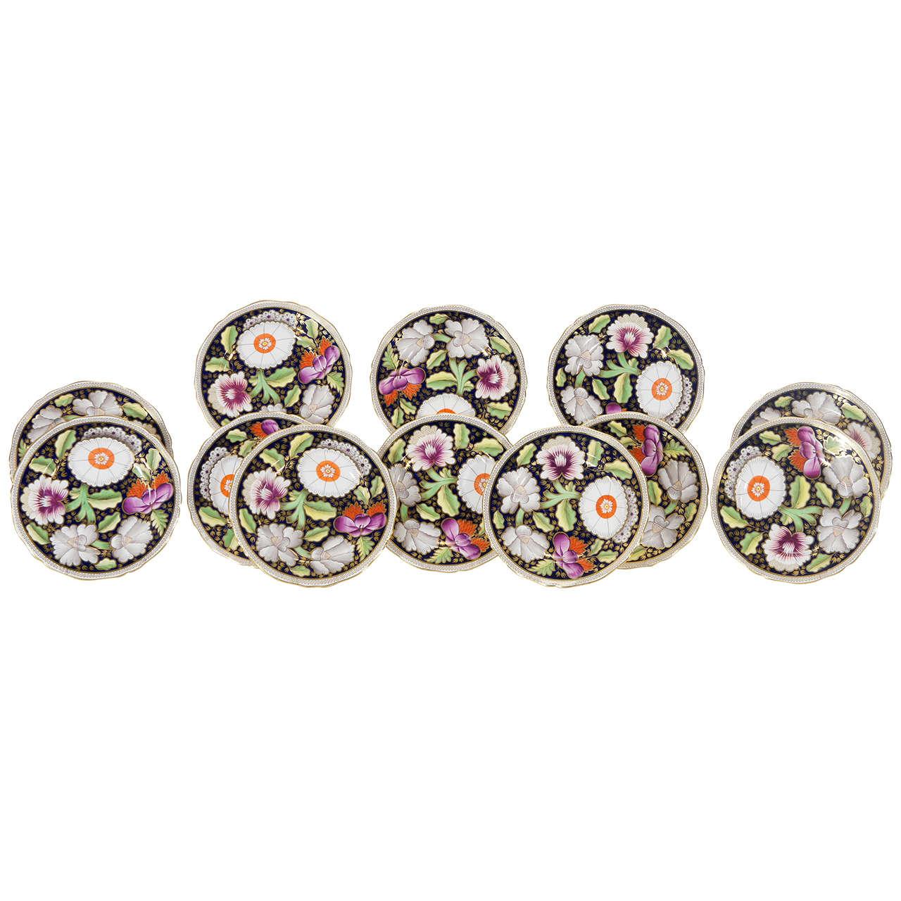 Set of 12 Copelands for Daniel, London Dessert Plates with Imari Decoration