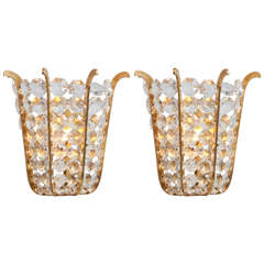 Pair of Austrian Beaded Crystal Sconces