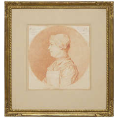 """Carle Van Loo,"" 18th Century Red Chalk Drawing of Marguerite Carbois"