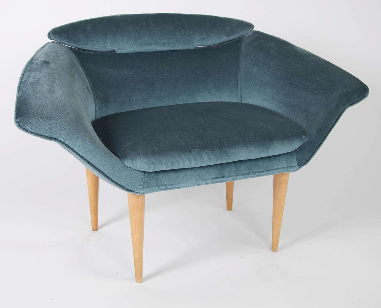 Small blue velvet armchair at 1stdibs for Small blue armchair