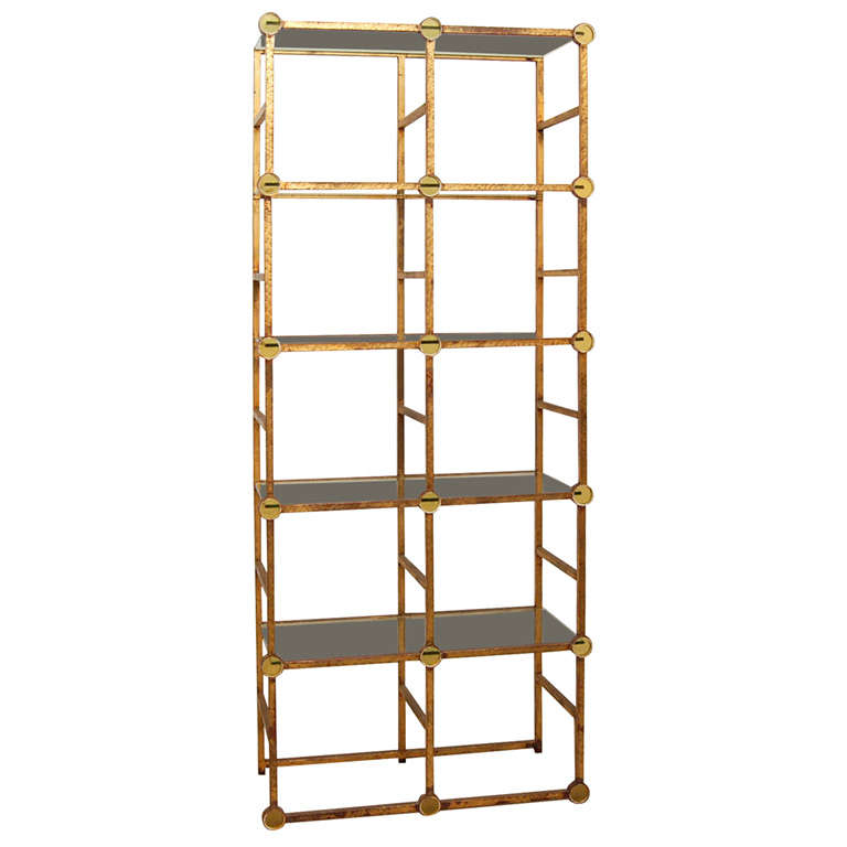 gold etagere with glass discs at 1stdibs. Black Bedroom Furniture Sets. Home Design Ideas