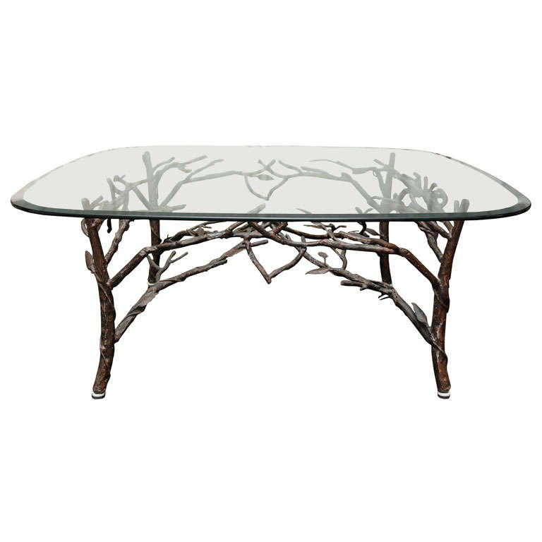 Glass Top Coffee Table With Tree Leg Base For Sale