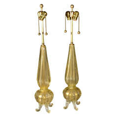 Pair Exquisite Barovier & Toso Gold Footed Murano Lamps