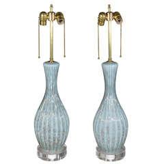 Pair Aqua Murano Glass Lamps