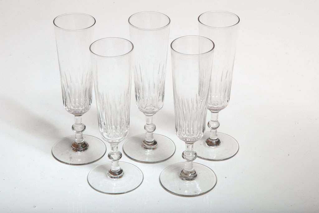 Five Swedish or French champagne flutes, 19th Century