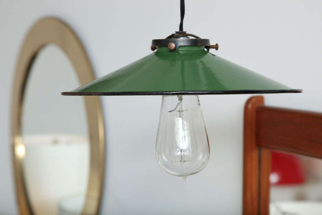 St Of 4 Vintage French Green Enamel Pendant Lights For Sale At 1stdibs