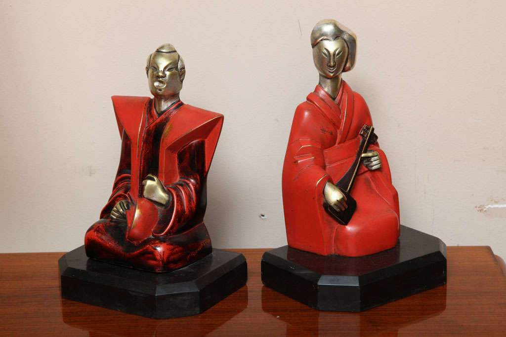 French Beautiful Pair of Art Deco Cubist Bookends by Bouret For Sale