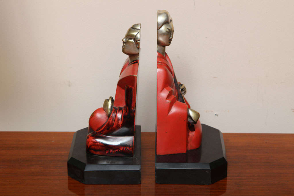 Beautiful Pair of Art Deco Cubist Bookends by Bouret In Good Condition For Sale In Bridgewater, CT