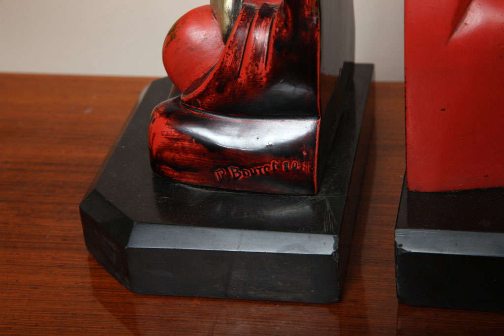 Mid-20th Century Beautiful Pair of Art Deco Cubist Bookends by Bouret For Sale