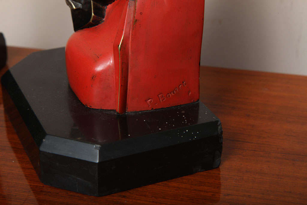 Bronze Beautiful Pair of Art Deco Cubist Bookends by Bouret For Sale