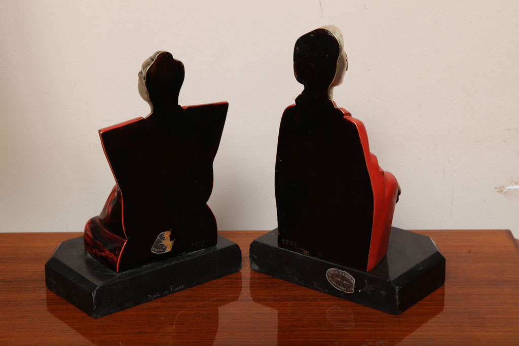 Beautiful Pair of Art Deco Cubist Bookends by Bouret For Sale 1