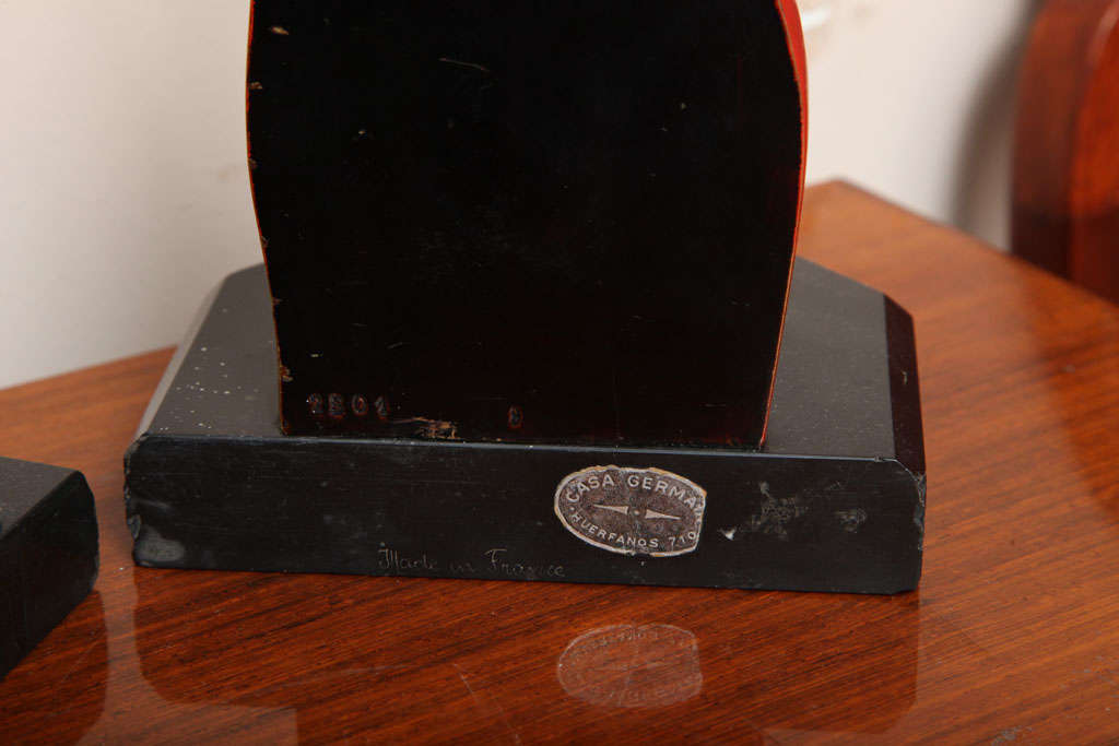 Beautiful Pair of Art Deco Cubist Bookends by Bouret For Sale 2