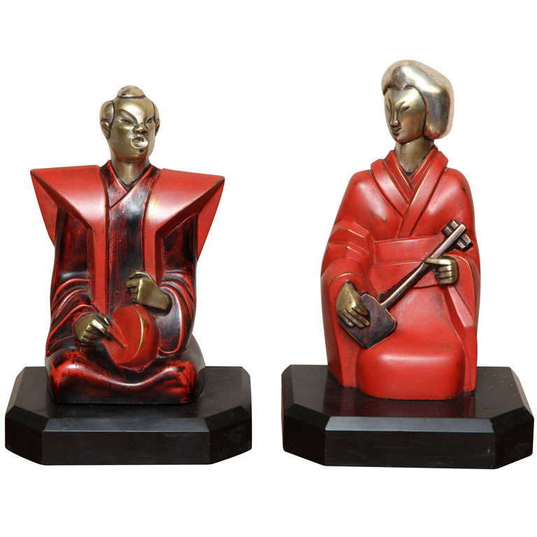 Beautiful Pair of Art Deco Cubist Bookends by Bouret
