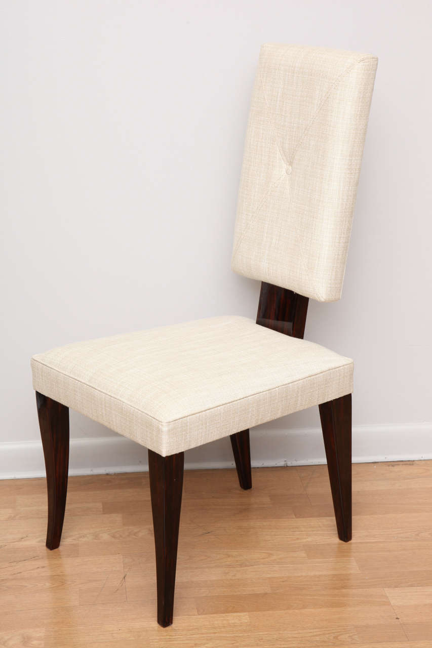 Sleek italian suite of art deco dining chairs at 1stdibs for Sleek dining room furniture