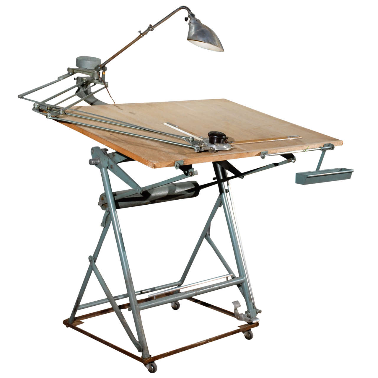 Isis Drafting Table With Original Components At 1stdibs
