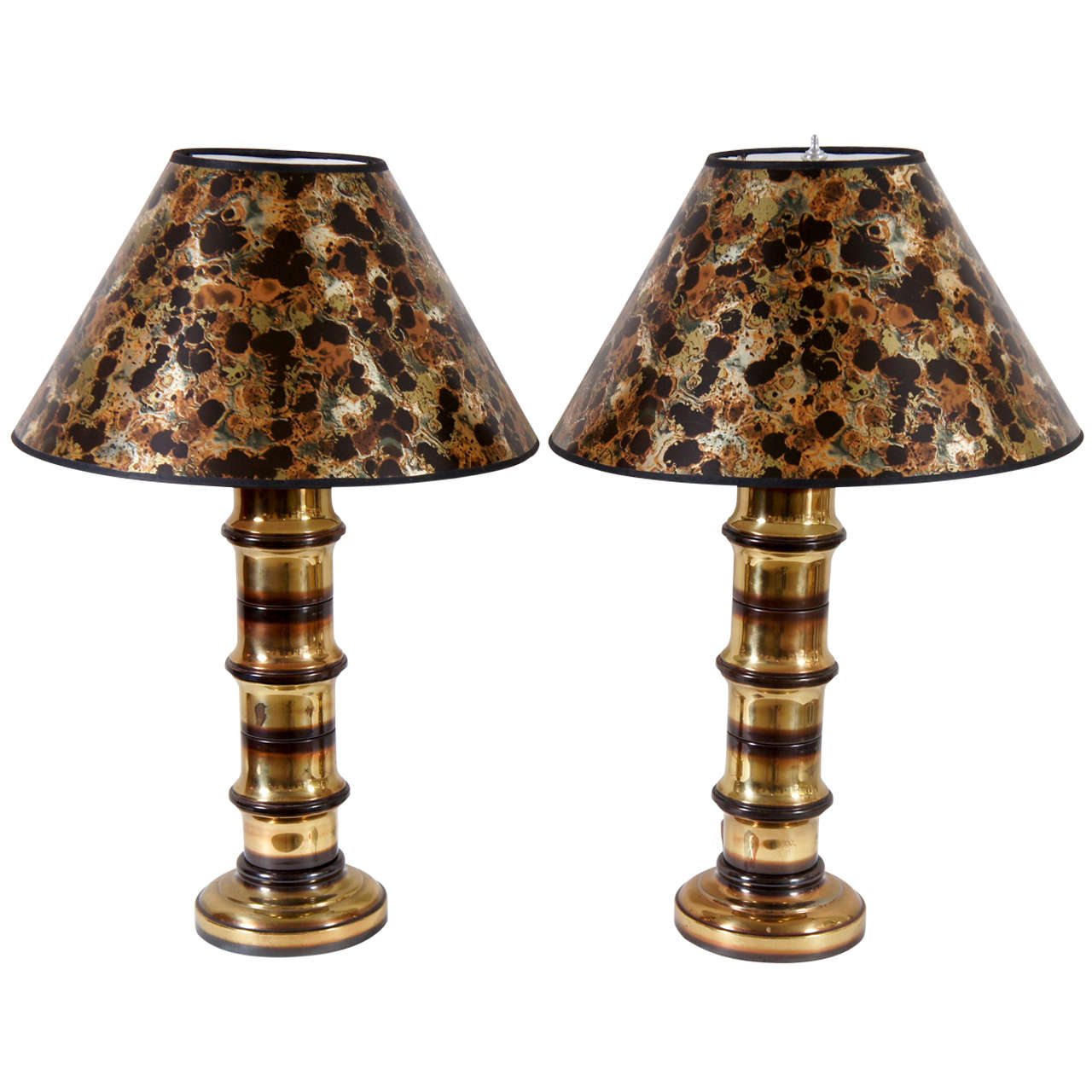 A Pair Of Brass Bamboo Motif Lamps For Sale