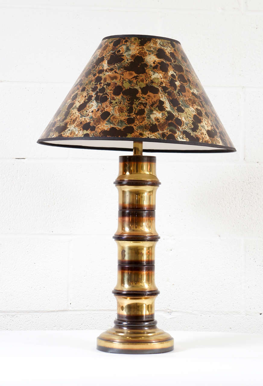 American A Pair Of Brass Bamboo Motif Lamps For Sale