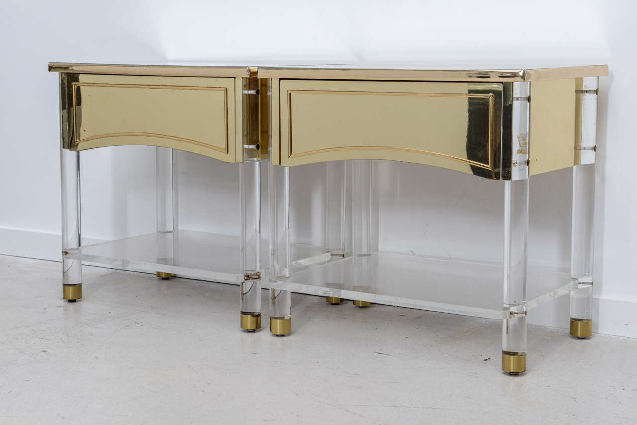 Pair Of Brass And Lucite Bedside Tables At 1stdibs