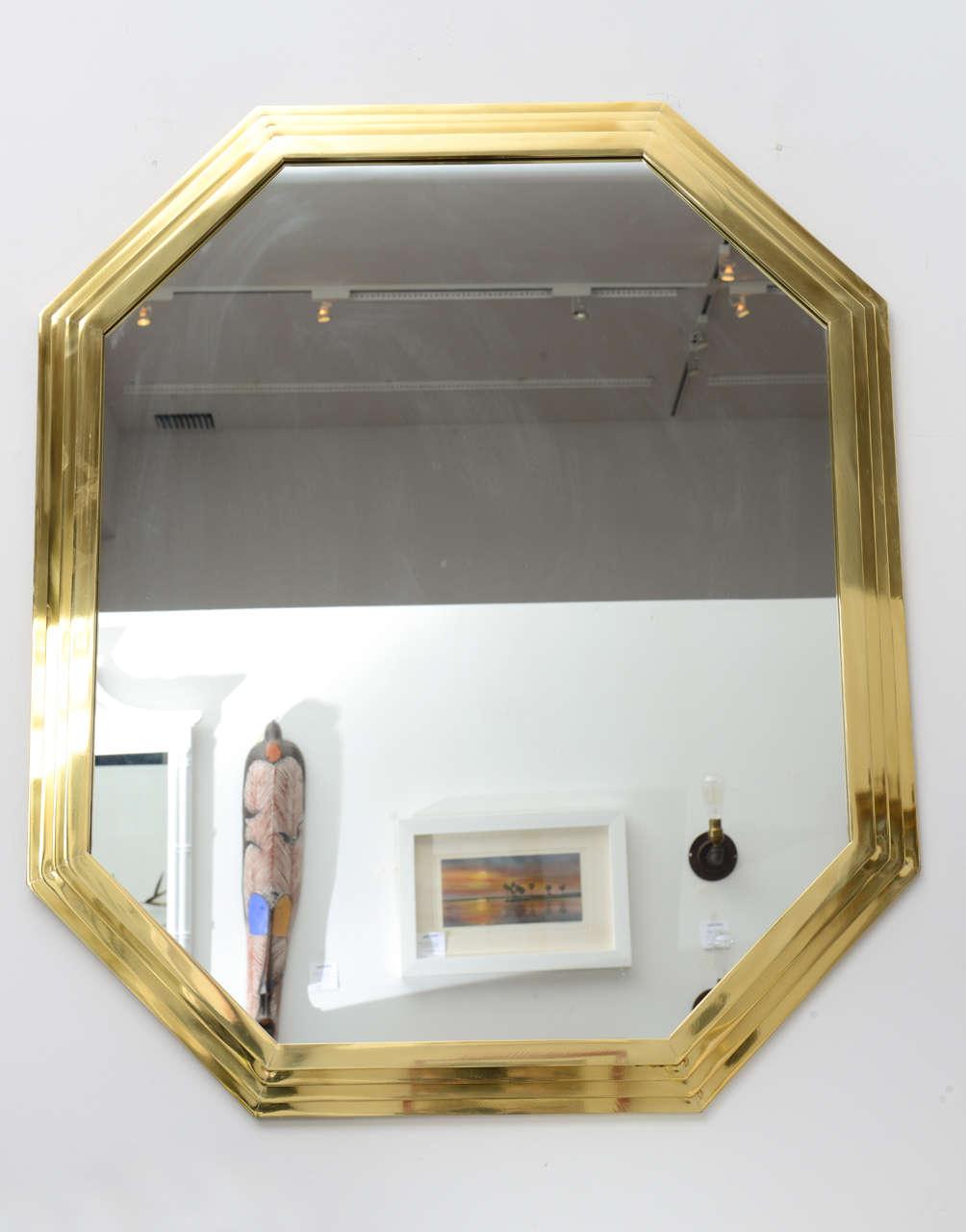 Vintage Octagonal Brass Mirror 2