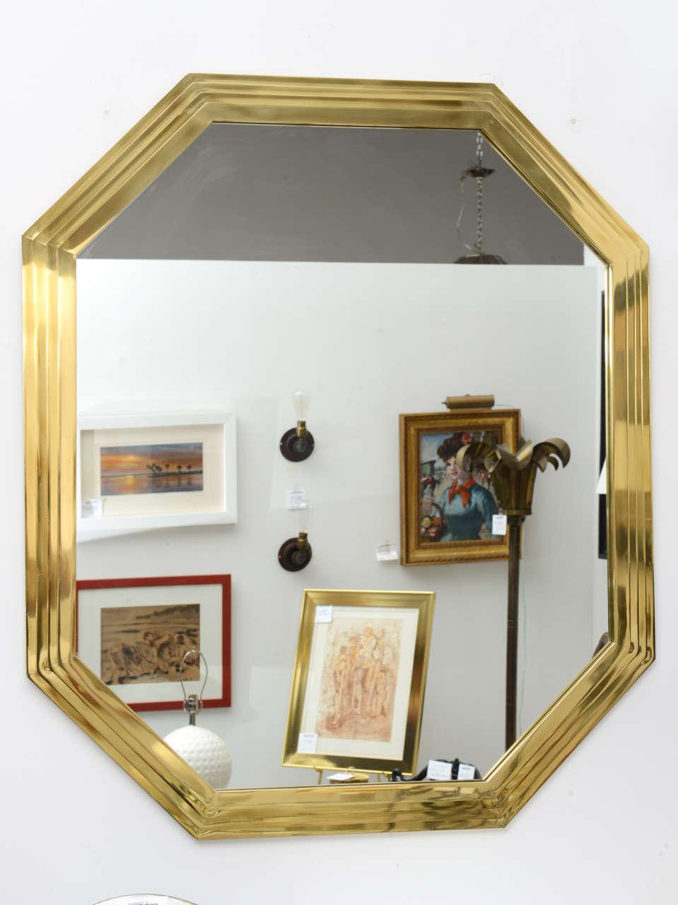 Vintage Octagonal Brass Mirror image 3