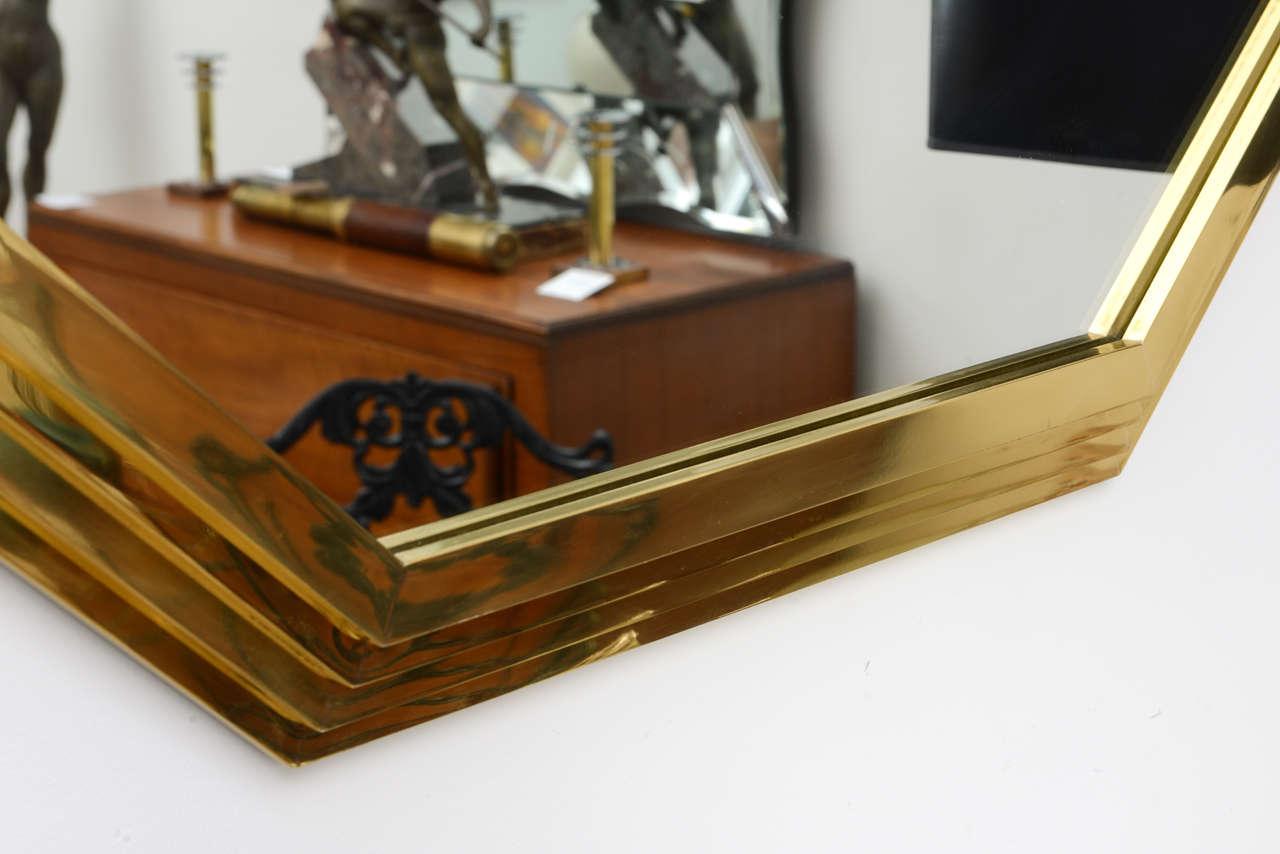 Vintage Octagonal Brass Mirror 9