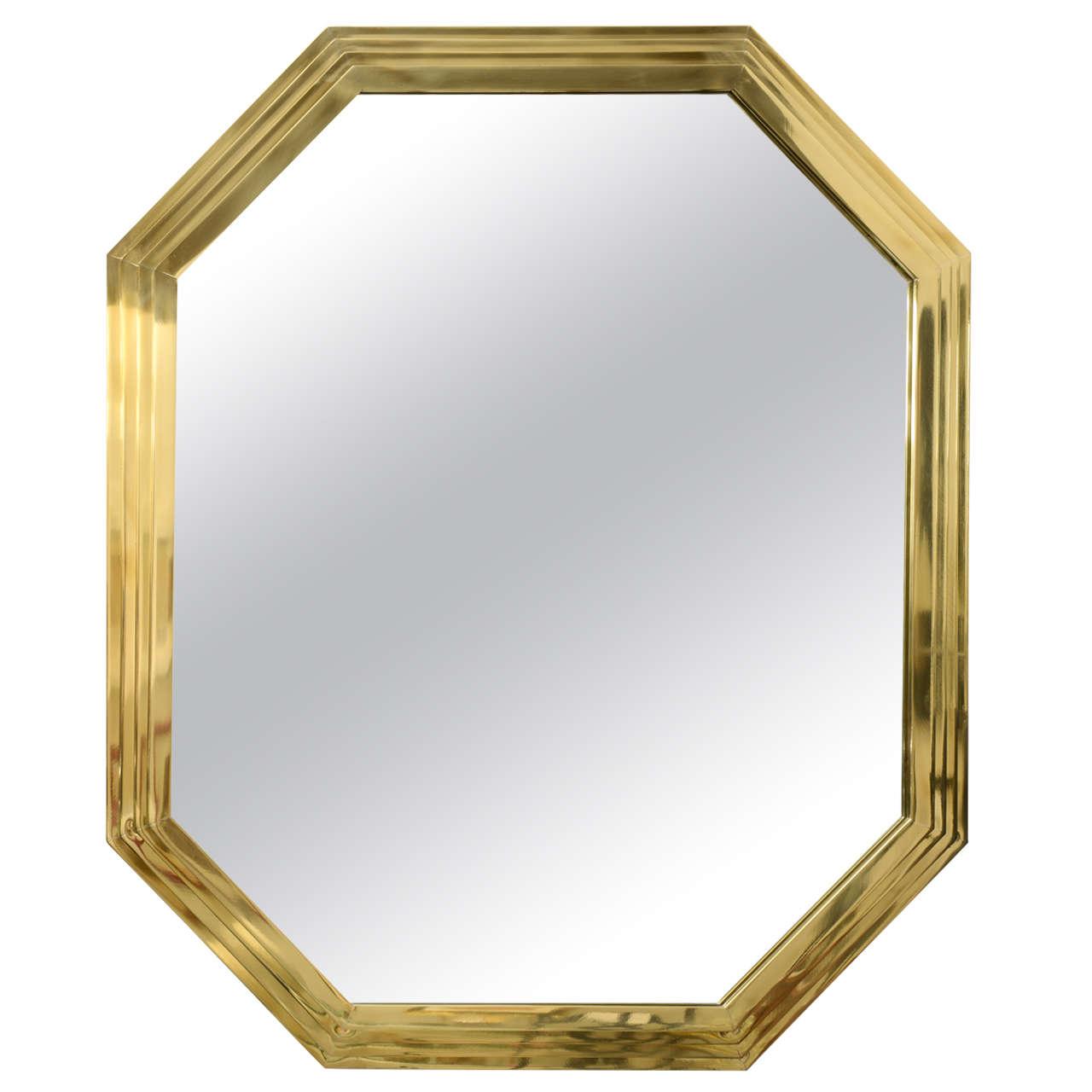 Vintage Octagonal Brass Mirror
