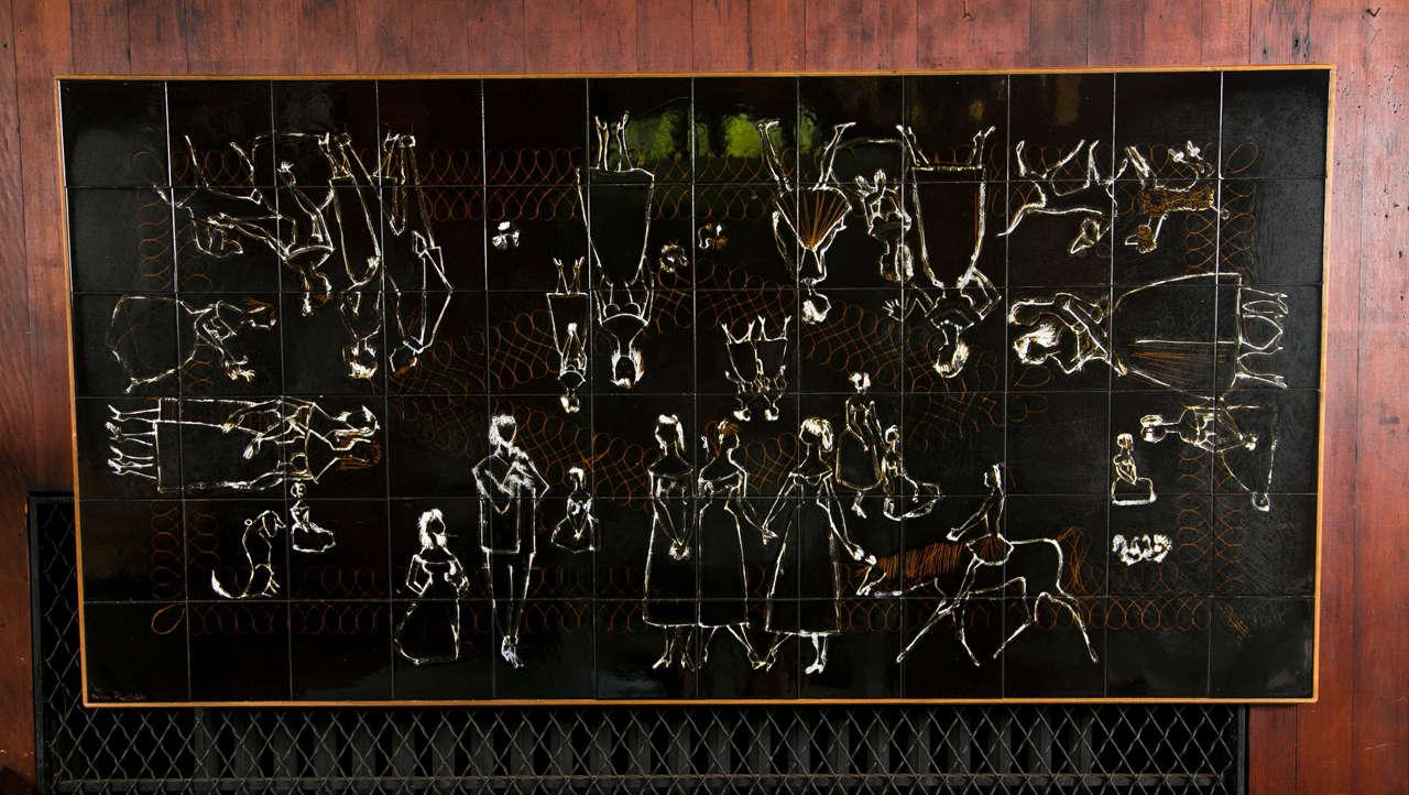 Mid-20th Century Henri Plisson Tile Painting For Sale