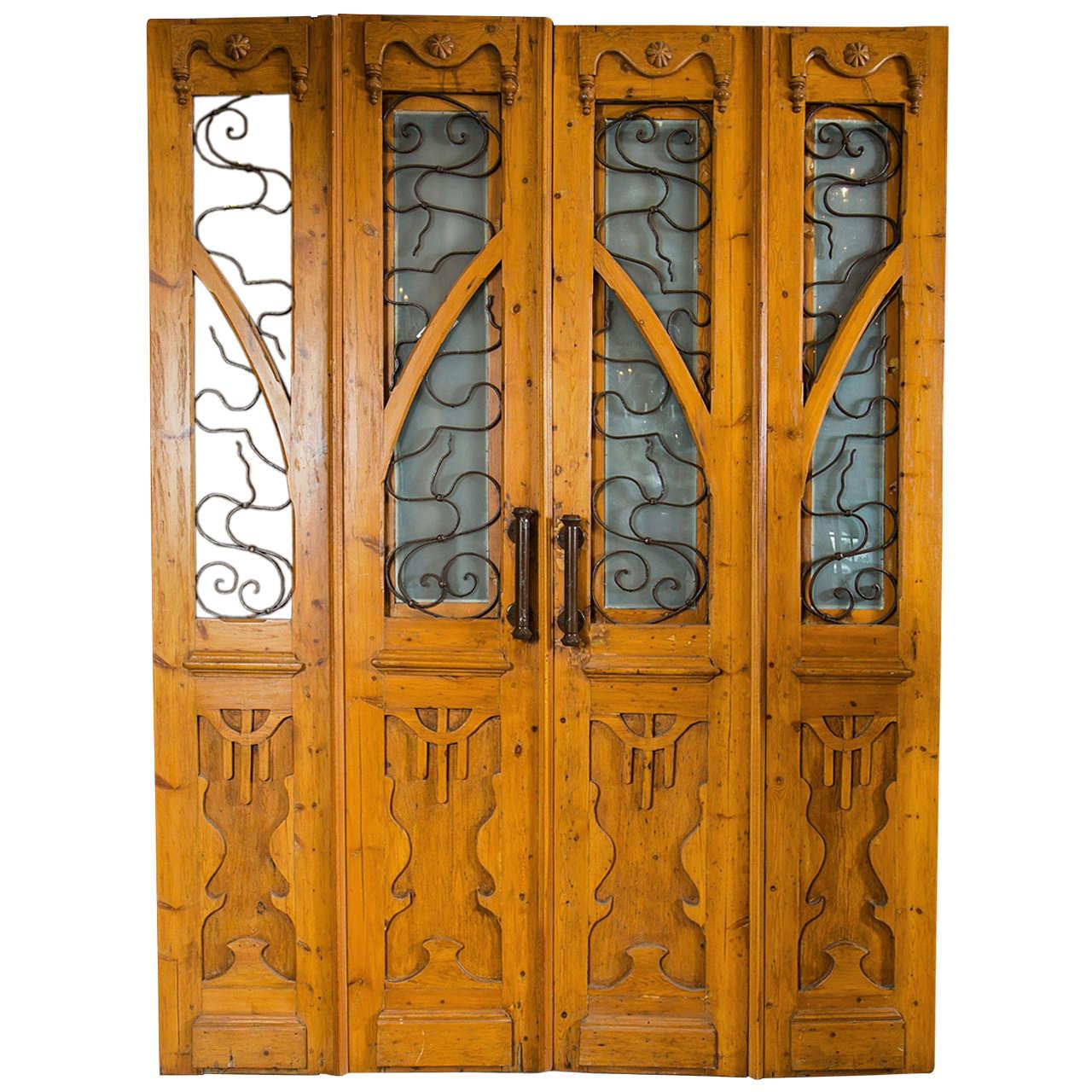 Antique Pine European Art Nouveau Doors Set For Sale - Antique Pine European Art Nouveau Doors Set At 1stdibs