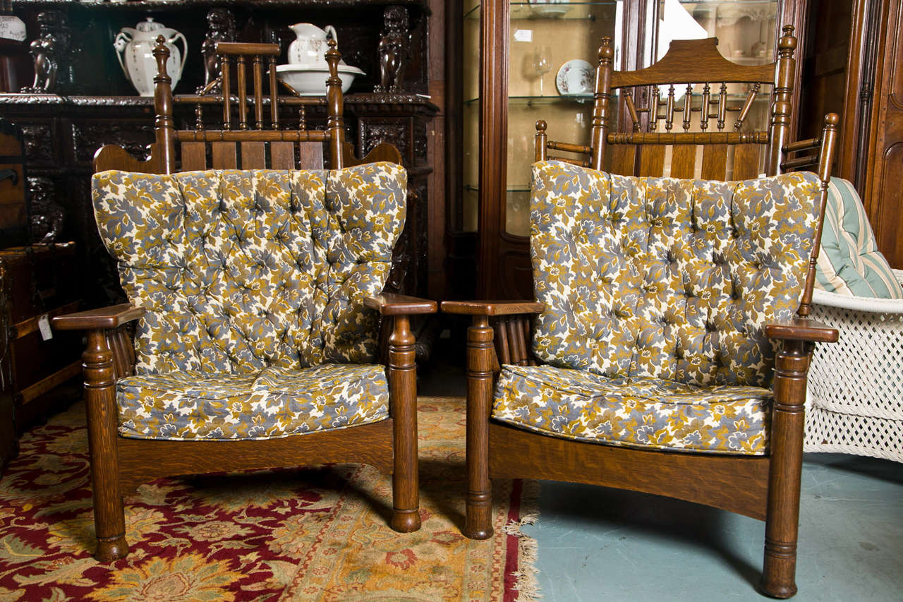Antique Oak Pair Of King And Queen Chairs For Sale At 1stdibs