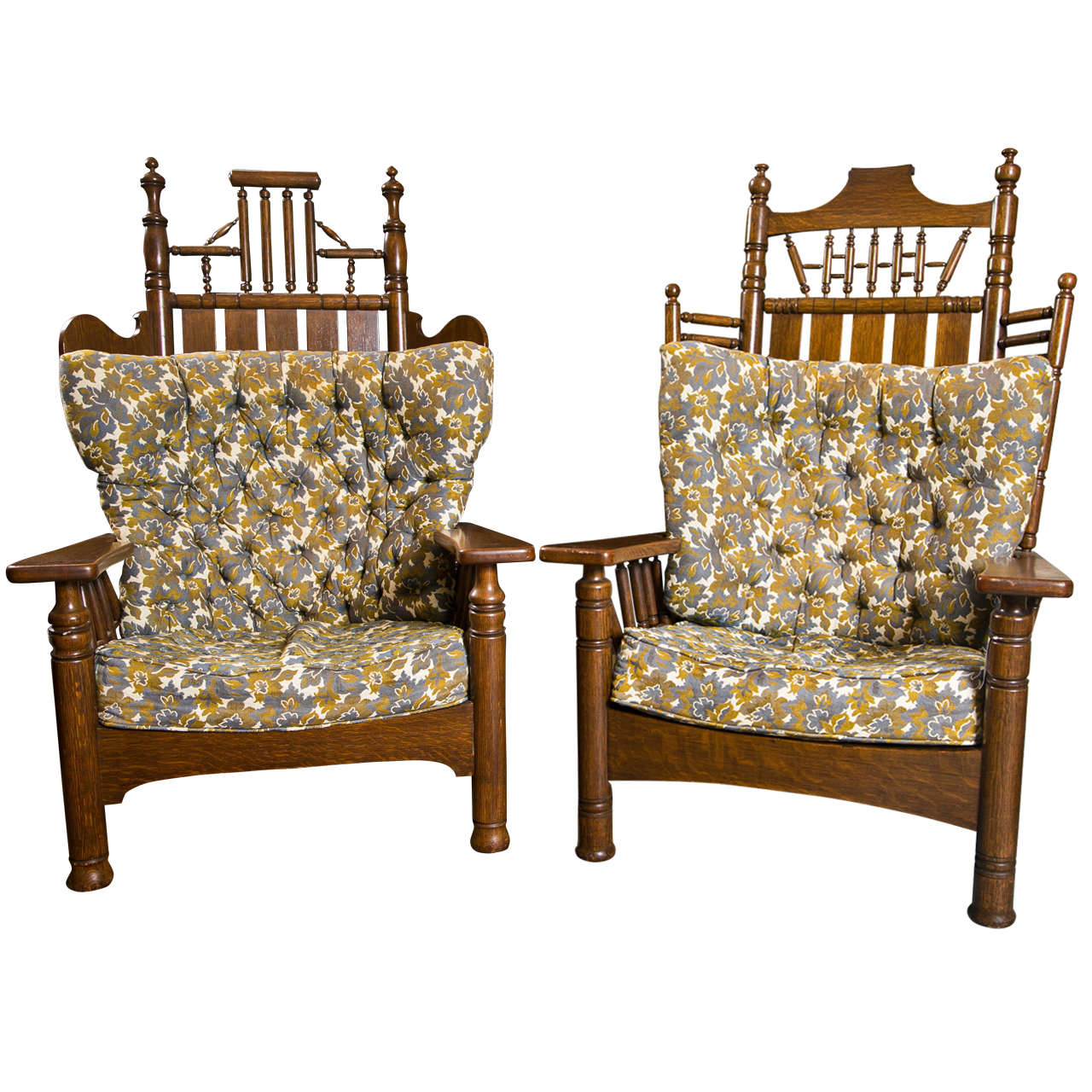 Antique oak pair of king and queen chairs at 1stdibs