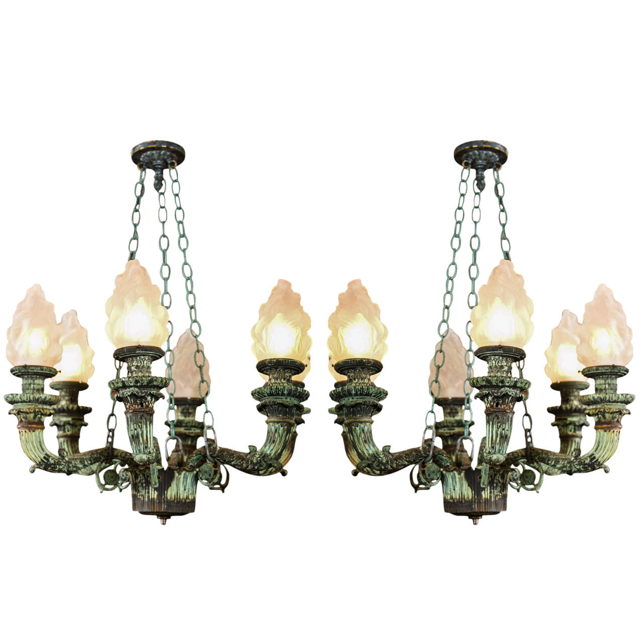 Pair of antique bronze chandeliers salvaged from archiitectural pair of antique bronze chandeliers salvaged from archiitectural design for sale arubaitofo Images