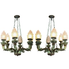 Pair of Antique Bronze Chandeliers Salvaged From Archiitectural Design