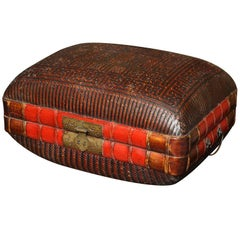 Turn of the Century Chinese Woven Rattan and Bamboo Pillow Basket from Shanghai
