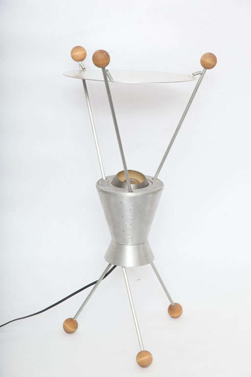 A 1950s Futurist table lamp attributed to Heifetz.