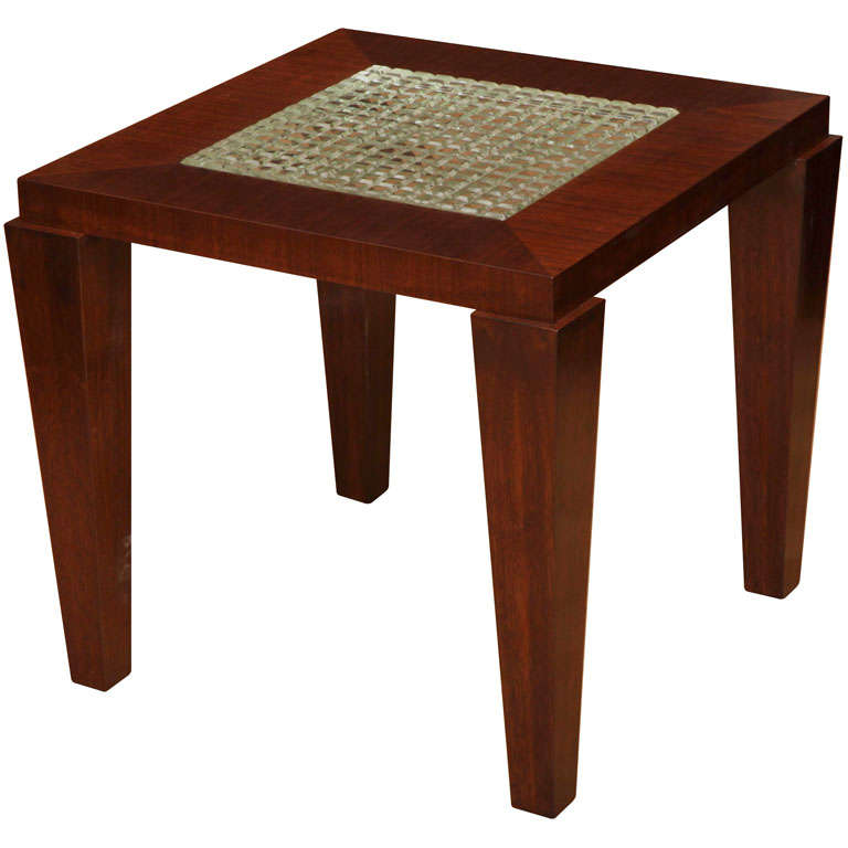 custom contemporary side table with le corbusier glass insert at 1stdibs. Black Bedroom Furniture Sets. Home Design Ideas
