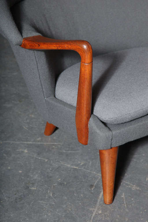 Teak and Grey Shell Chair by Hans Olsen 4
