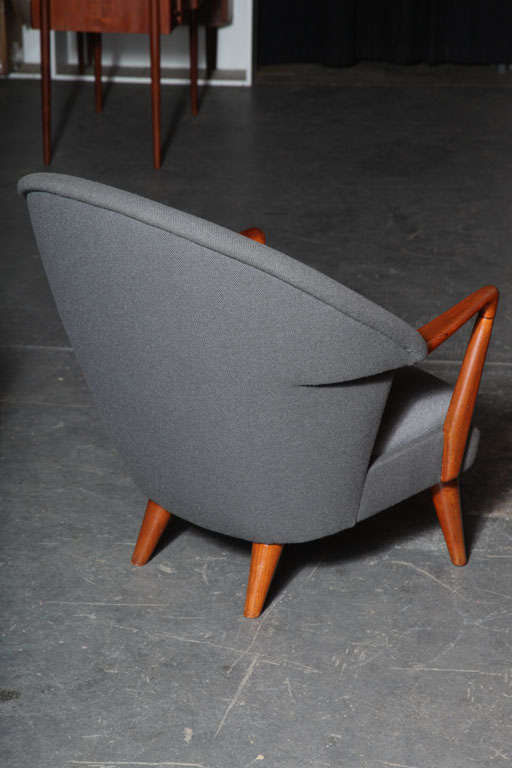 Teak and Grey Shell Chair by Hans Olsen 7
