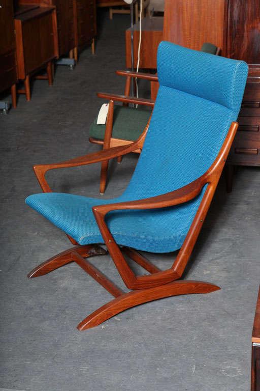 Danish Modern Teak And Blue Rocking Chair At 1stdibs