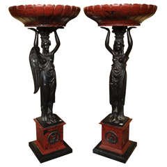 Pair of Large Empire Style Composition Tazas Figural Centerpieces