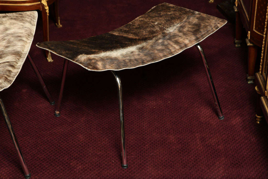 A Set Of Cow Hide And Chrome Chair And Ottoman At 1stdibs