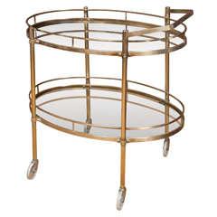 2 Tier Oval Brass Bar Cart